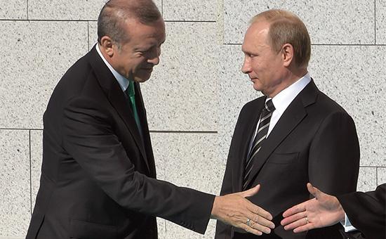 Президент Турции Реджеп Эрдоган и президент России Владимир Путин (слева направо)
