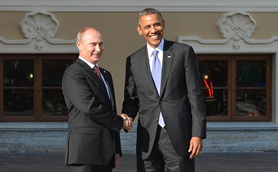 Президент России Владимир Путин и президент США Барак Обама (слева направо) во время встречи на саммите G20 в Санкт-Петербурге, 5 сентября 2013г.
