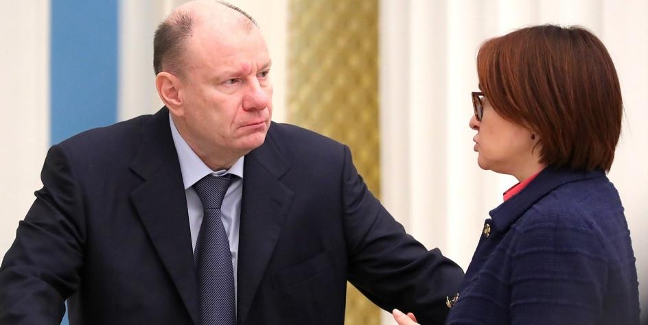 Президент «Норильского никеля» Владимир Потанин (слева) и глава ЦБ Эльвира Набиуллина