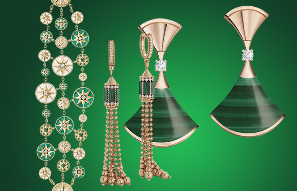 Браслет Rose des Vents, Dior Joaillerie Серьги Art Deco, Roberto Coin Серьги Diva's Dream, Bvlgari
