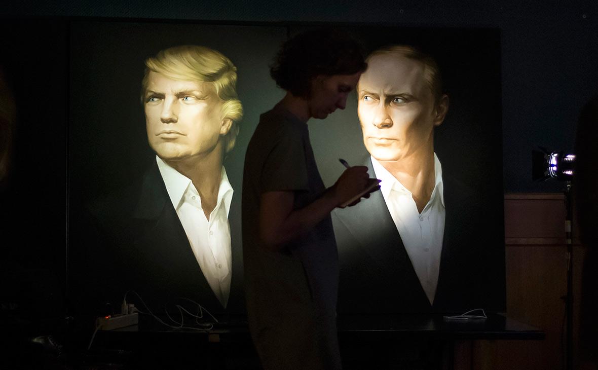 Портреты Дональда Трампа иВладимира Путина