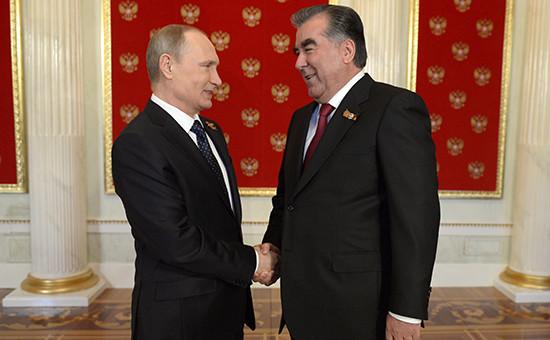 Президент России Владимир Путин ипрезидент Республики Таджикистан Эмомали Рахмон (май 2015 года)