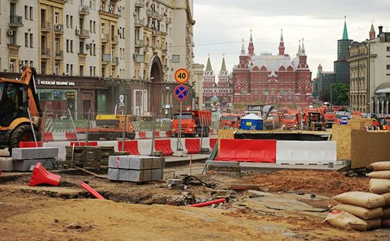 Во время реконструкции Тверской улицы вМоскве, июнь 2016 года