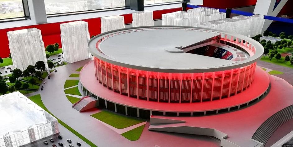 Макет новой хоккейной арены, которая будет построена в Санкт-Петербурге к чемпионату мира 2023 года