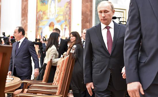 Президент России Владимир Путин на встрече «нормандской четверки» в Минске
