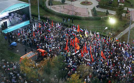 Участники митинга оппозиции «За сменяемость власти» врайоне Марьино