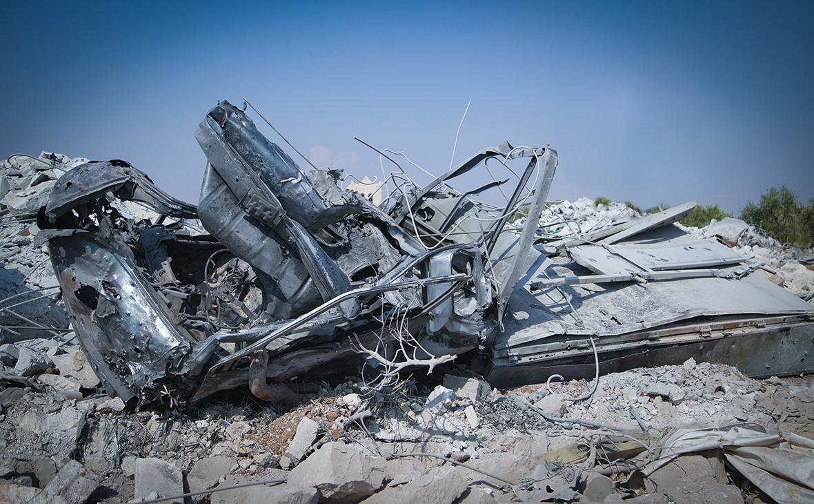 Последствия авиаудара, где укрывался Абу Бакра аль-Багдади