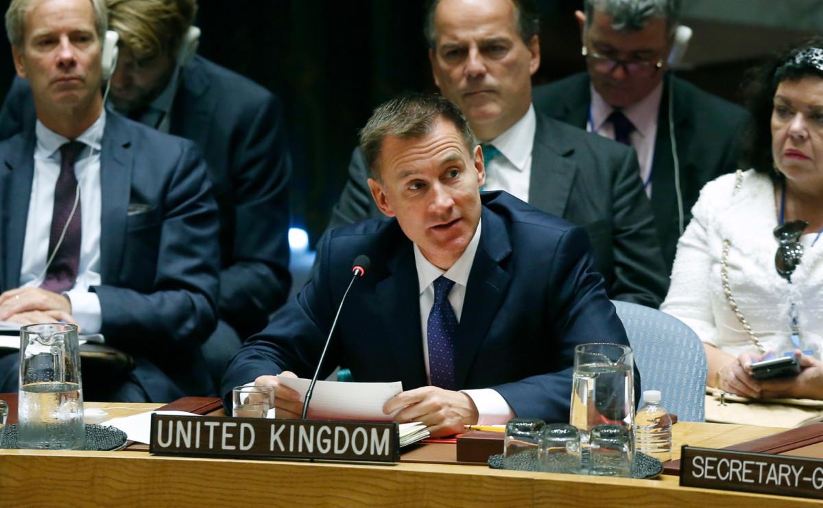 Джереми Хант во время выступления в ООН