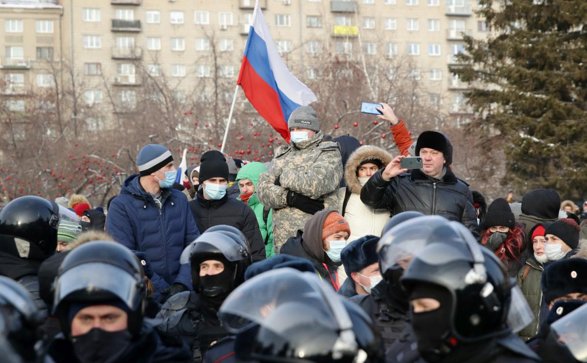 Несанкционированная акция в поддержку Навального в Новосибирске. 23 января 2021 года