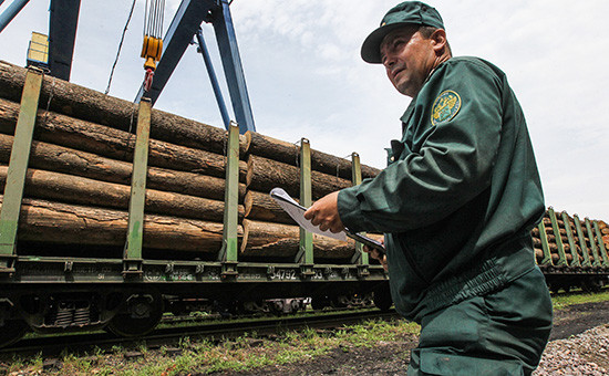 Сотрудник таможни вовремя работы взоне таможенного контроля железнодорожного пункта пропуска