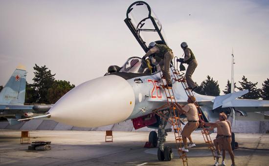 Российский истребитель Су-30 на авиабазе Хмеймим в Латакии