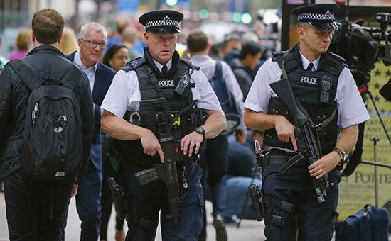 Полицейские вцентре Лондона, гдебыла совершена атака налюдей сножом, 4 августа 2016 года