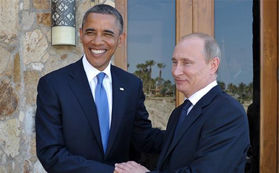 Президент США Барак Обама и президент России Владимир Путин (слева направо)