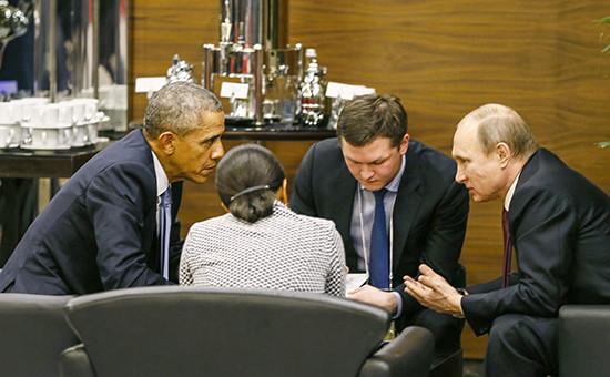 Президент России Владимир Путин ипрезидент США Барак Обама вовремя беседы насаммите G20 вАнталье