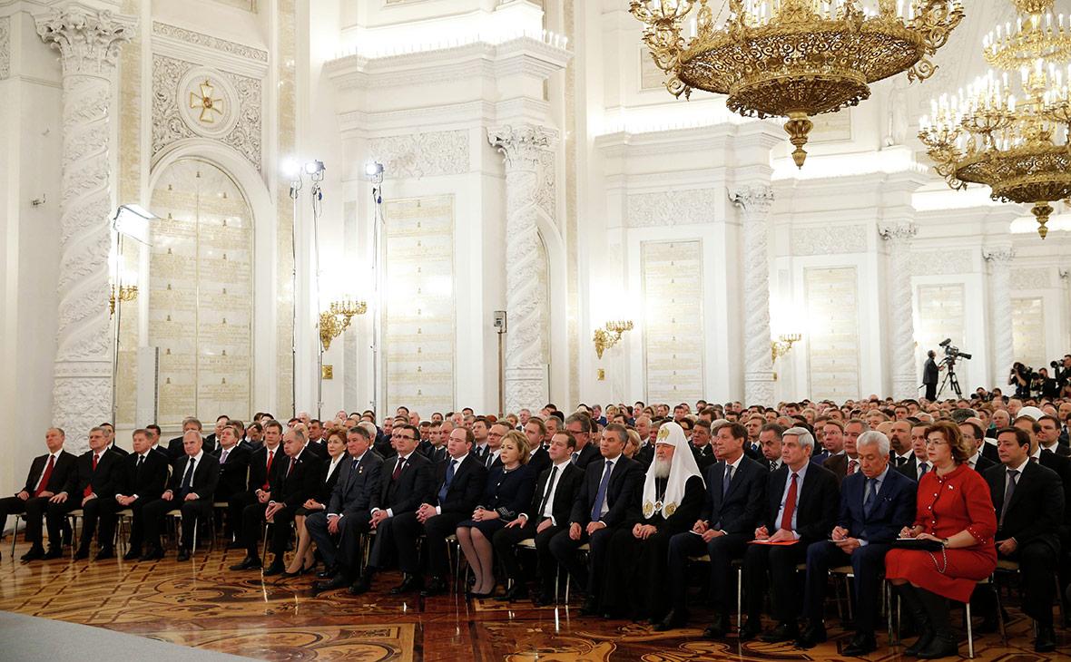 Перед началом ежегодного послания президента России Владимира Путина Федеральному собранию в Кремле. Декабрь 2016 года