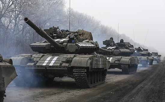 Танки ВС Украины в районе Дебальцево