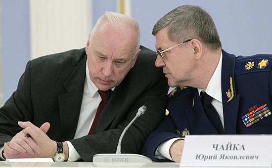 Председатель СКРоссии Александр Бастрыкин иГенпрокурор России Юрий Чайка