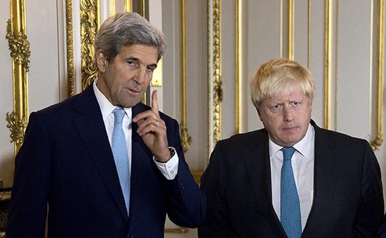 Госсекретарь США Джон Керри иминистр иностранных дел Великобритании Борис Джонсон