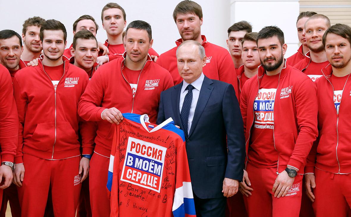Владимир Путин во время встречи с российскими спортсменами – участниками XXIII Олимпийских зимних игр 2018 года