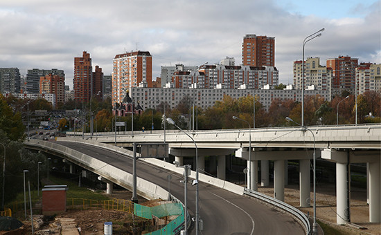 Строительная площадка участка Северо-Восточной хорды, которая должна связать трассу М11 сДмитровским шоссе.Октябрь 2016 года