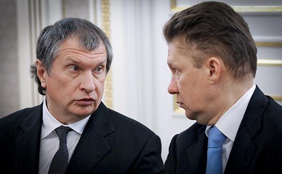 Президент «Роснефти» Игорь Сечин и председатель правления ОАО «Газпром» Алексей Миллер (слева направо)