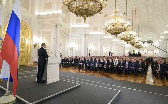 Президент России Владимир Путин во время выступления с ежегодным посланием Федеральному собранию РФ в Кремле