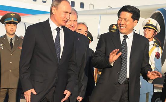 Президент РФ Владимир Путин в во время своего визита для участия в торжествах, посвященных 70-летиюокончания Второй мировой войны