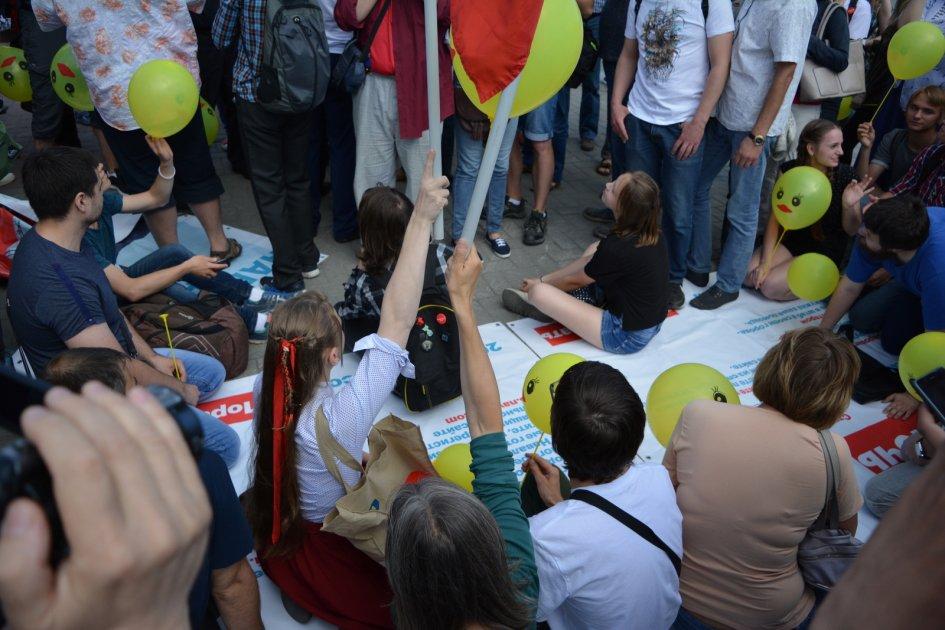 Акция штаба Навального около ГПНТБ 9 июля