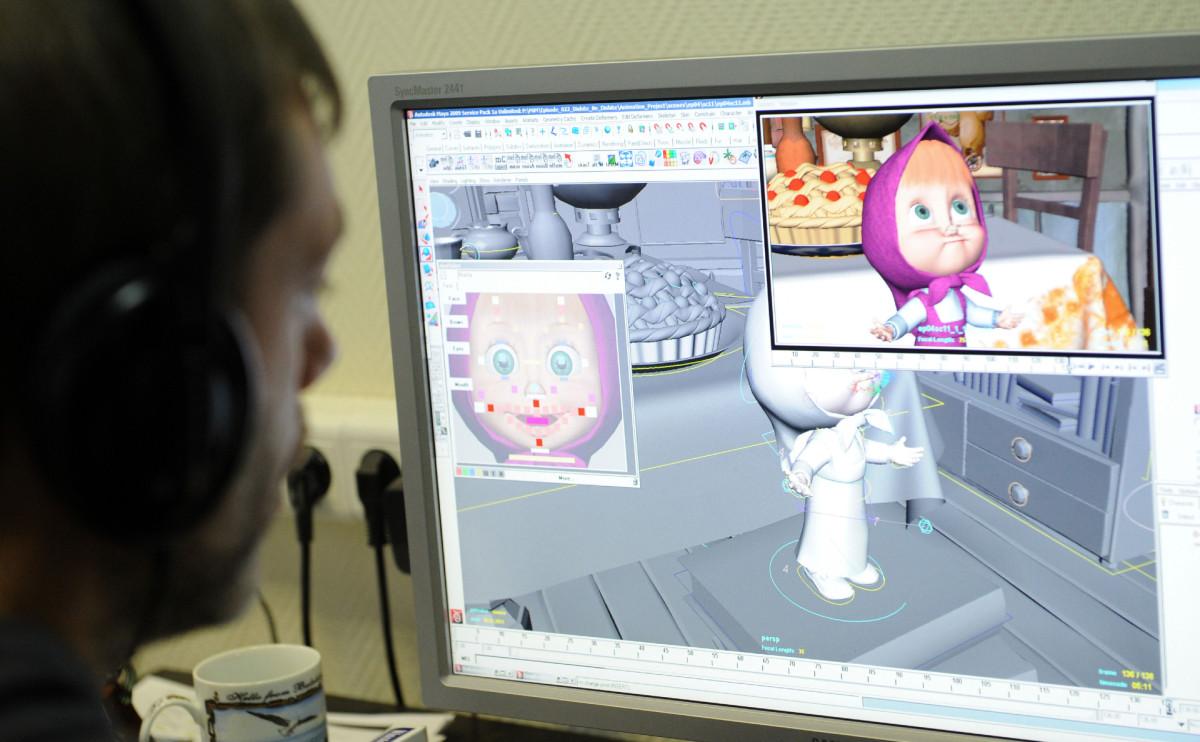 Работа над мультипликационным сериалом «Маша и Медведь» в анимационной студии.