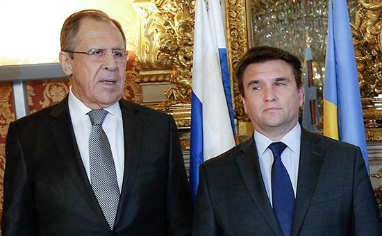 Министр иностранных дел России Сергей Лавров и министр иностранных дел Украины Павел Климкин (слева направо)