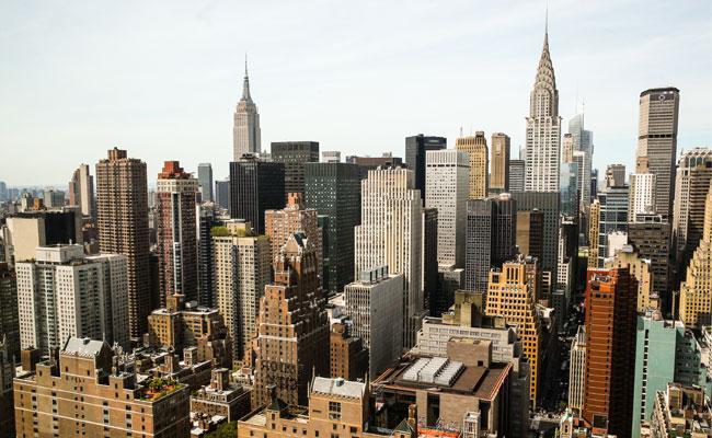 Вид нарайон Манхэттен вНью-Йорке