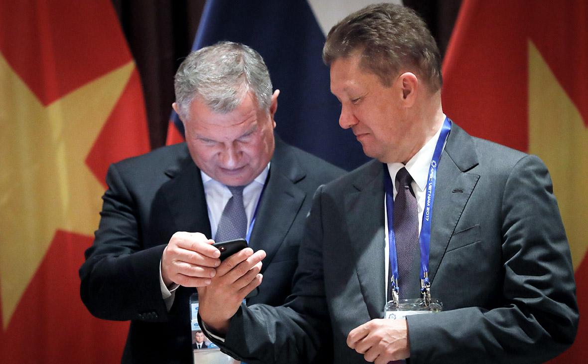 Игорь Сечин и Алексей Миллер (слева направо)