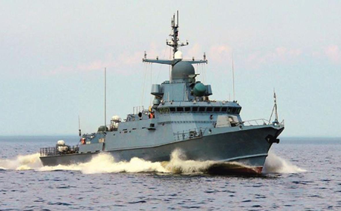 Малый ракетный корабль «Одинцово» оснащенный зенитным ракетно-артиллерийским комплексом «Панцирь-М»