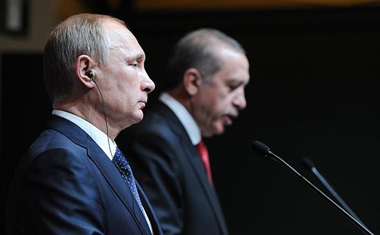 Президент России Владимир Путин (слева) и президент Турецкой Республики Реджеп Тайип Эрдоган. Декабрь 2014 года