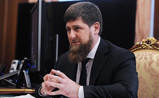 Рамзан Кадыров, назначенный исполняющим обязанности главы Чечни, вовремя встречи спрезидентом России Владимиром Путиным вКремле 25 марта 2016 года
