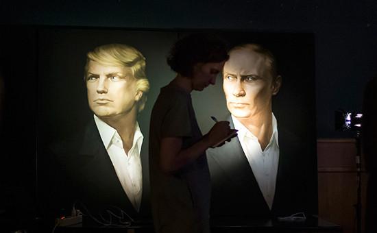 Портреты избранного президента США Дональда Трампа ипрезидента России Владимира Путина