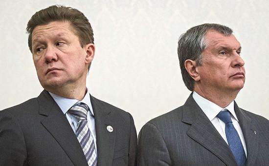 Председатель правления компании «Газпром» Алексей Миллер (слева) ипрезидент —председатель правления ОАО«НК «Роснефть» Игорь Сечин