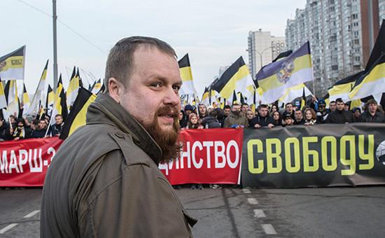 Лидер националистического объединения «Русские» Дмитрий Демушкин наакции «Русский марш».2014 год
