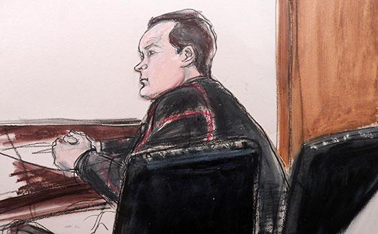 Изображение Евгения Бурякова вовремя суда. Январь 2015 года