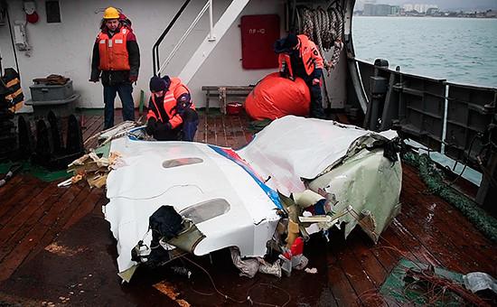 Найденные фрагменты самолета Ту-154, потерпевшего крушение надЧерным морем у берегов Сочи