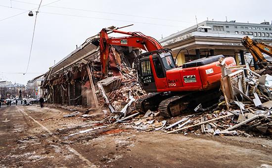 Снос объектов самовольного строительства у метро «Чистые пруды», 9 февраля 2016 года
