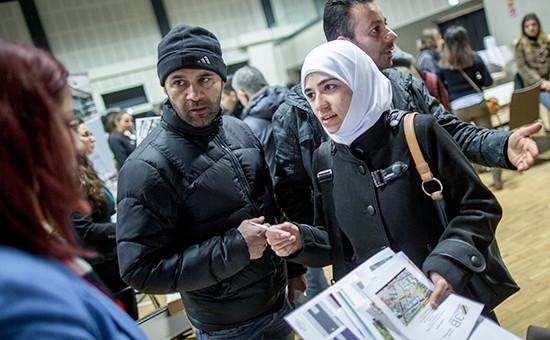 Ярмарка вакансий для беженцев в Берлине.Германия, февраль 2016 года