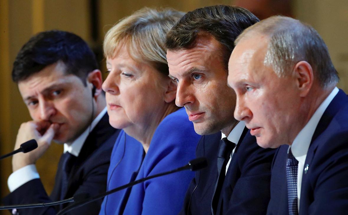Владимир Зеленский, Ангела Меркель, Эмманюэль Макрон и Владимир Путин