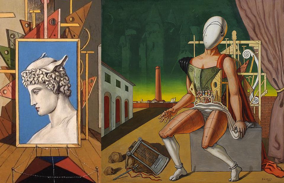 Фрагменты картин «Внутренняя метафизика с головой Меркурия», 1969 и «Орфей – уставший трубадур», 1970