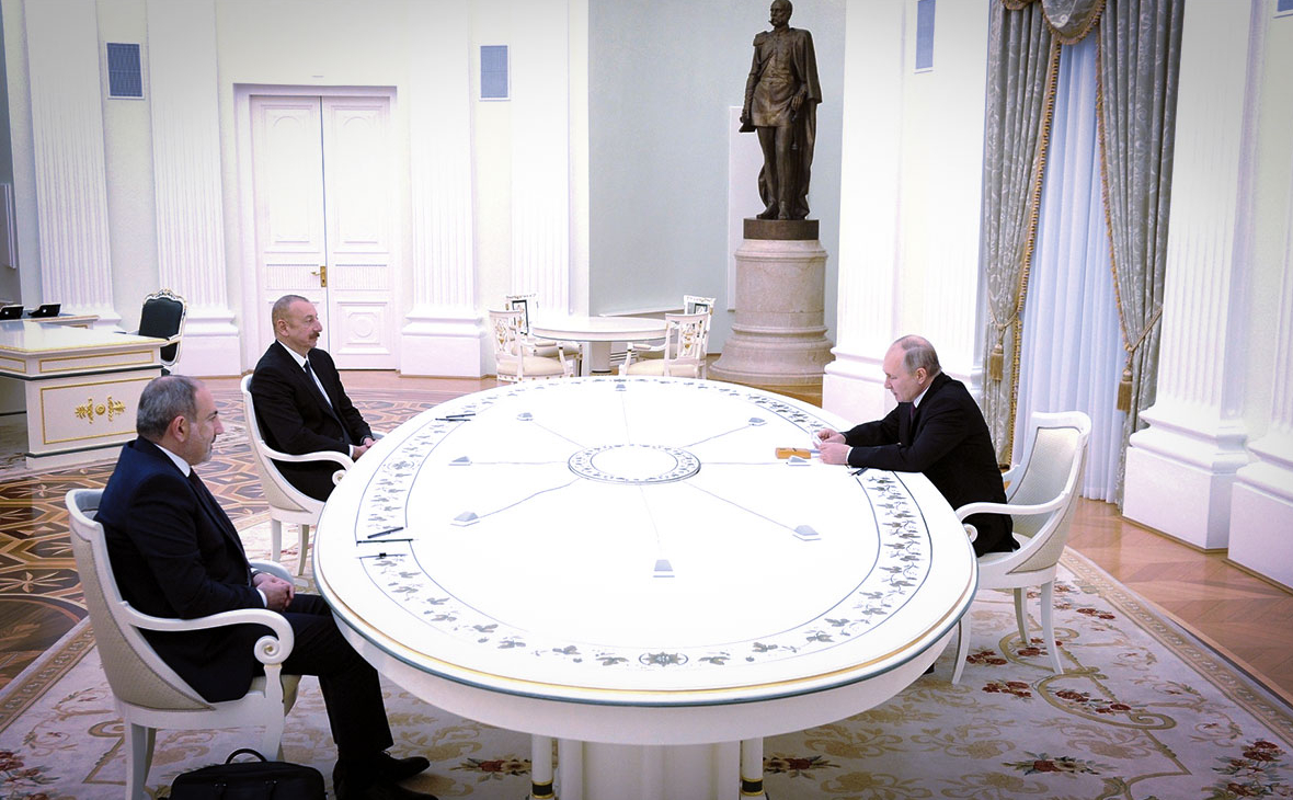 Никол Пашинян,Ильхам Алиев и Владимир Путин