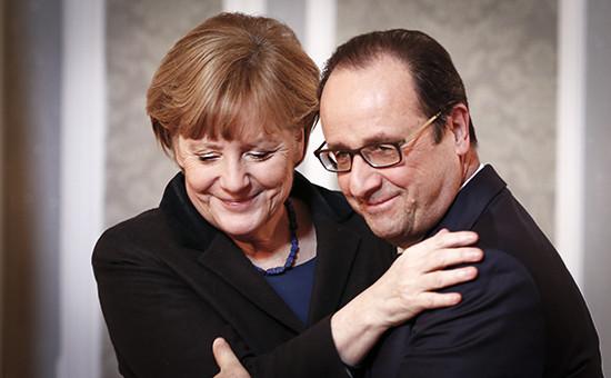 Канцлер ФРГ Ангела Меркель и президент Франции Франсуа Олланд (слева направо)