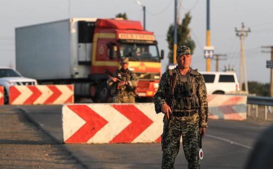 Один изпостовна границе Украины с Крымом