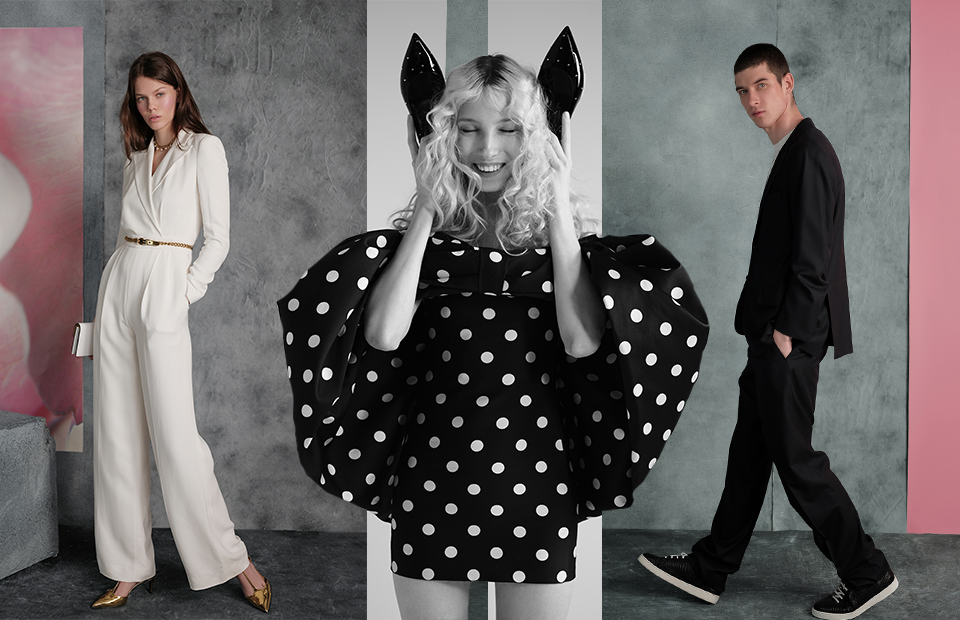 Ralph Lauren (комбинезон, туфли, сумка, ремень, колье), Celine (платье)и Kiton (костюм, футболка, кеды)
