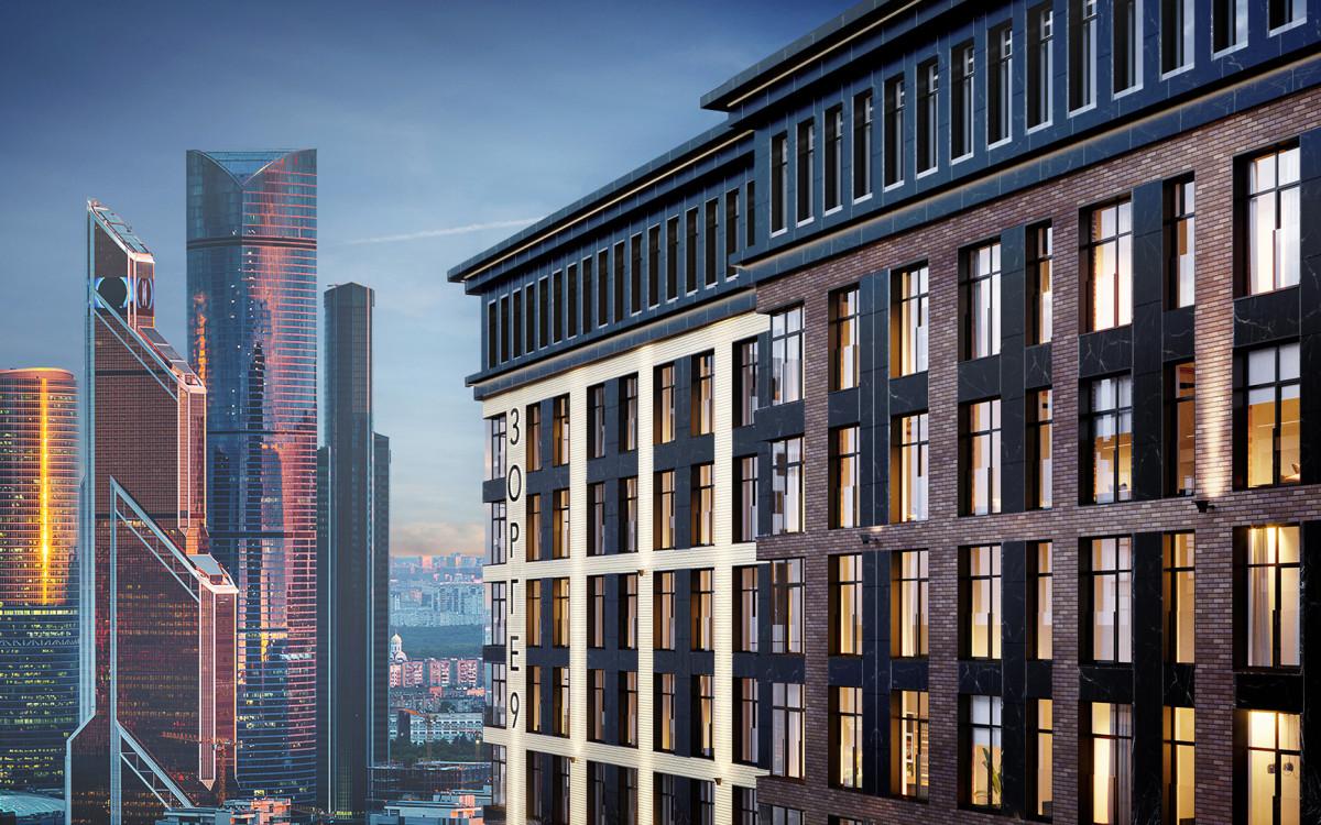 Проектный вид на комплекс апартаментов бизнес-класса «Зорге 9»