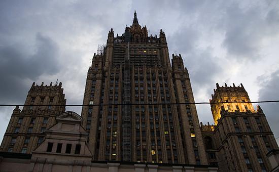 Вид на здание Министерства иностранных дел РФ (МИД) на Смоленской площади